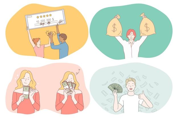 お金、富、大当たりの概念。 Premiumベクター