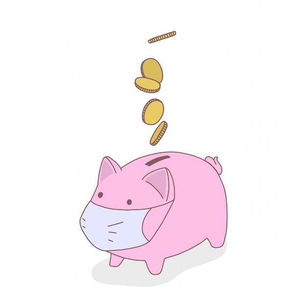 医療用マスクの貯金箱の豚、コインが落下しています Premiumベクター