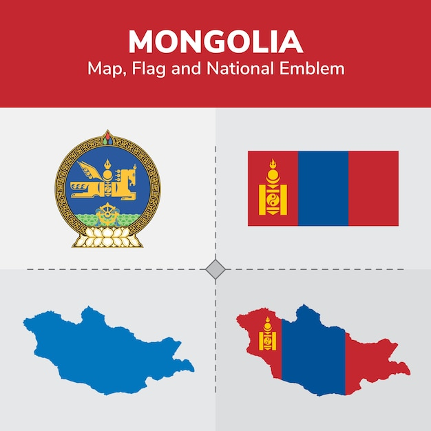 Mongolia Map Flag And National Emblem Vector Premium Download - Mongolia map vector