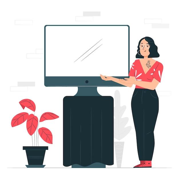 Иллюстрация концепции монитора (компьютера) Бесплатные векторы