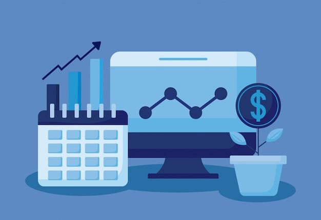 Monitor computer with set icons economy finance Premium Vector