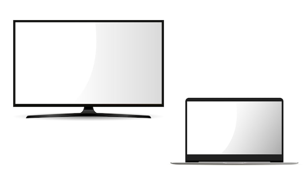 Monitor and laptop. flat set. Premium Vector