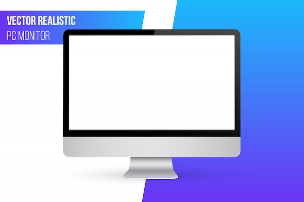 Monitor mock up with blank screen. Premium Vector