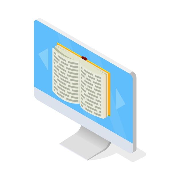 Монитор с открытой книгой на экране. доступ к виртуальной медиа-библиотеке, дистанционное обучение с использованием современных технологий, компьютер, электронное обучение, концепция хранения книг. изометрические на белом. Premium векторы