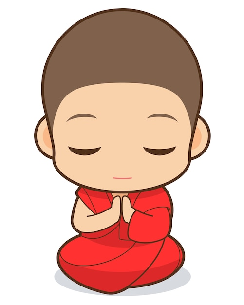Monk cartoon Premium Vector