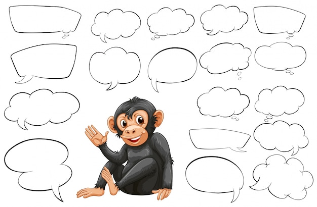 Monkey and different types of bubble speeches illustration Free Vector