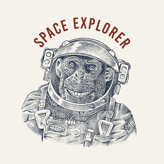 Monkey astronaut in a spacesuit label. chimpanzee spaceman dressed in suit. fashion animal character. hand drawn sketch. Premium Vector