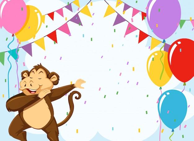 Monkey on birthday template Free Vector