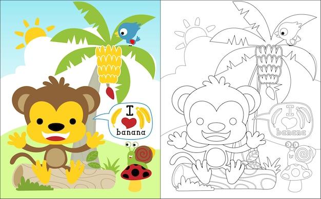 Мультфильм обезьяны и друзья в банановом саду Premium векторы