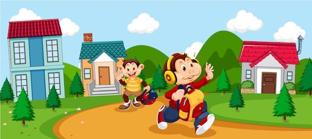 Monkey cartoon going to school Free Vector