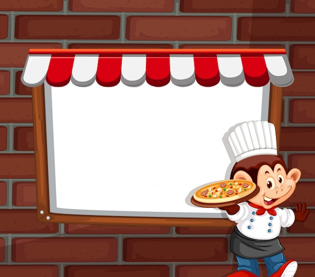 A monkey chef character with copyspace Free Vector