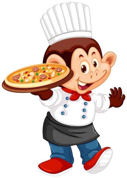 A monkey chef character Free Vector