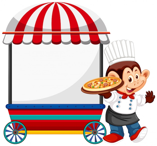 Monkey chef with vendor cart Free Vector