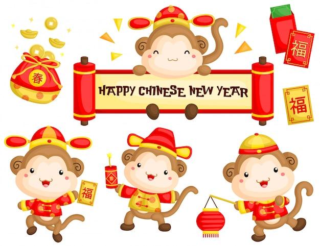 Monkey chinese new year greeting vector set Premium Vector