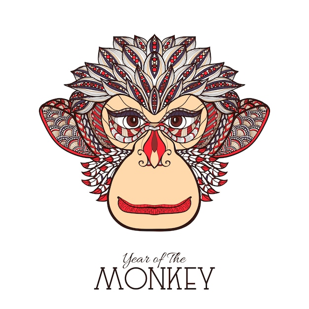 Monkey color face Free Vector