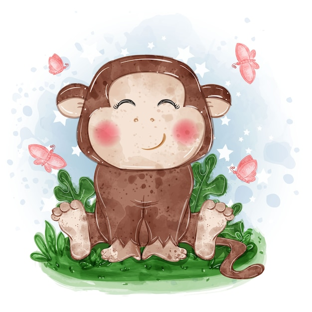 Monkey cute illustration sit down on the grass with butterfly Free Vector