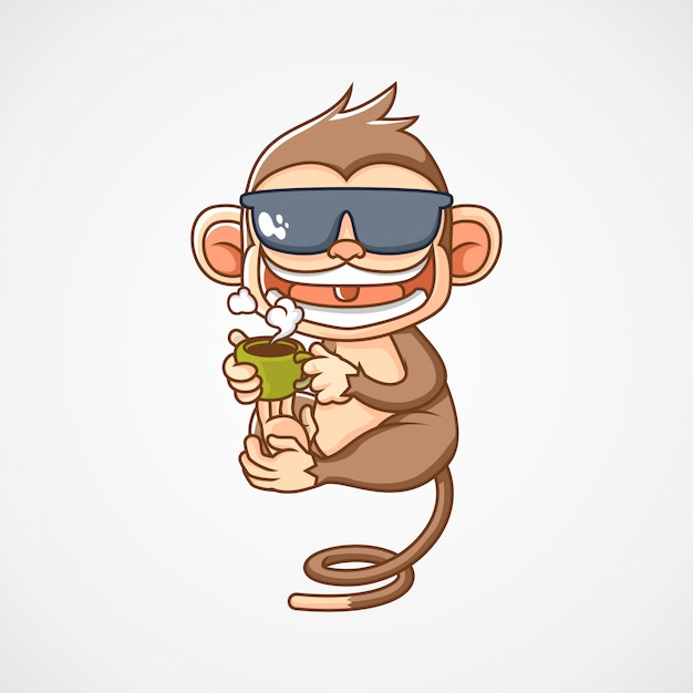 Monkey drink a cup of coffee mascot logo illustration Premium Vector