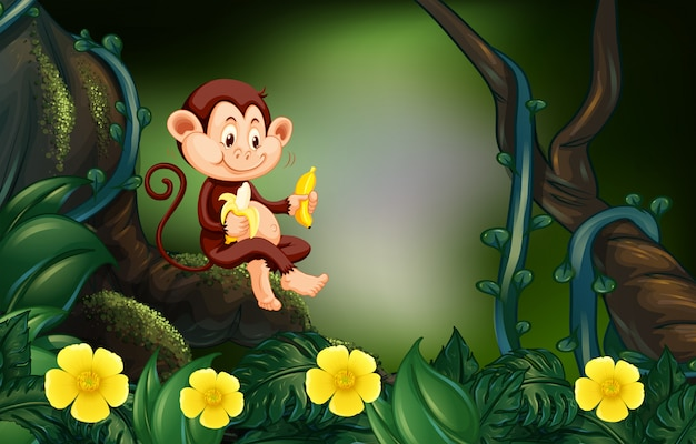 Monkey eating banana in forest Free Vector
