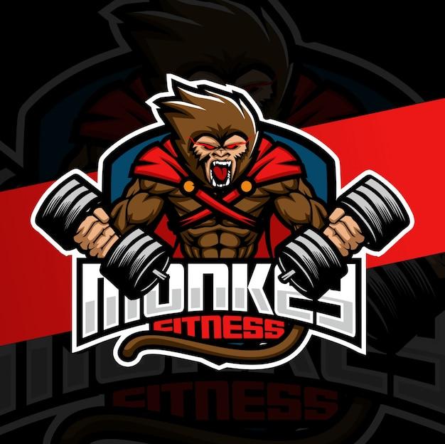 Monkey fitness mascot logo design Premium Vector