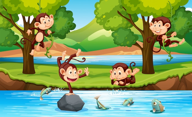 Monkey in the forest Free Vector