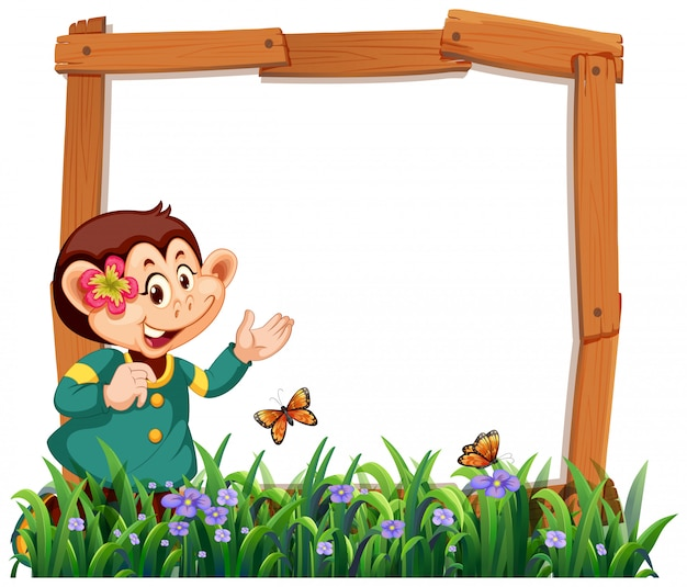 Monkey frame in nature with grass and butterflies Free Vector