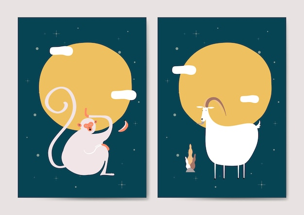 Monkey and goat cards Free Vector