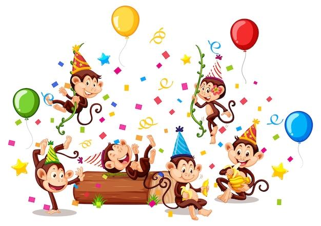 分離されたパーティーテーマの猿グループ Premiumベクター