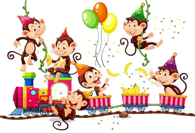 Gruppo di scimmia nel tema del partito isolato su priorità bassa bianca Vettore gratuito