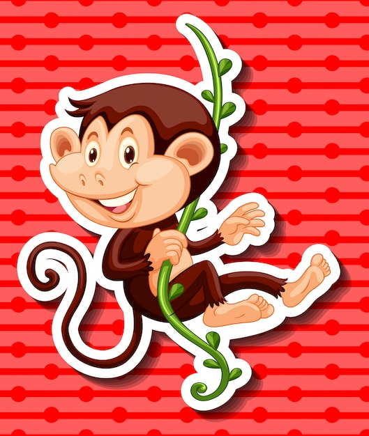 Monkey hanging on the vine Free Vector