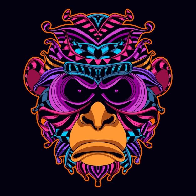 Monkey head art in neon color style Premium Vector