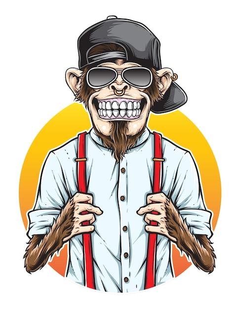 Monkey hipster vector Premium Vector