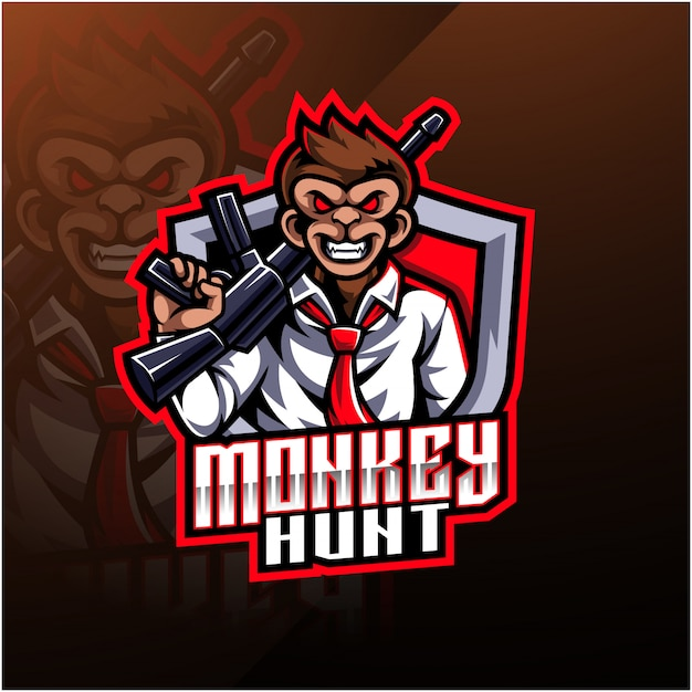 Monkey hunt mascot logo Premium Vector