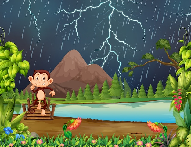 Monkey in jungle with lightning Free Vector