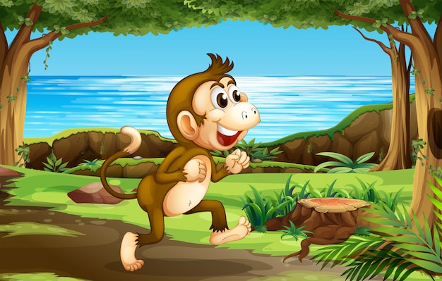 A monkey in the jungle Free Vector