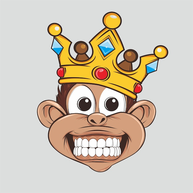 Premium Vector Monkey King Cute With Crown A cartoon of a monkey with a wrench. https www freepik com profile preagreement getstarted 2686179