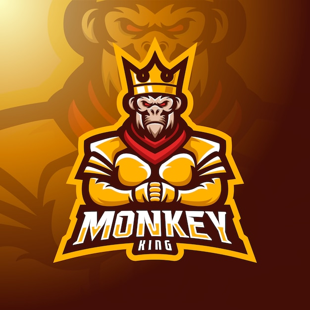 Король обезьян талисман. Premium векторы