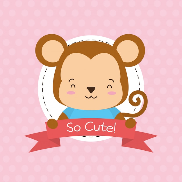 Monkey label, cute animal, cartoon and flat style, illustration Free Vector