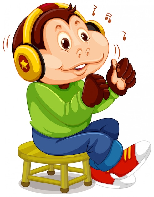 Monkey listening to music Free Vector