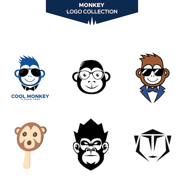 Monkey logo collection Premium Vector