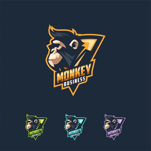 猿のロゴデザインベクトルイラストテンプレート プレミアムベクター