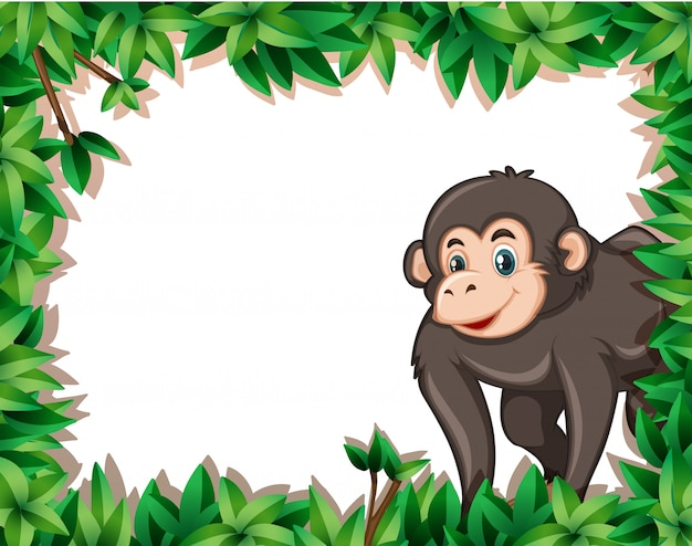 Monkey on nayure frame Free Vector