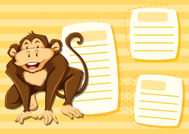 Monkey on note template Free Vector