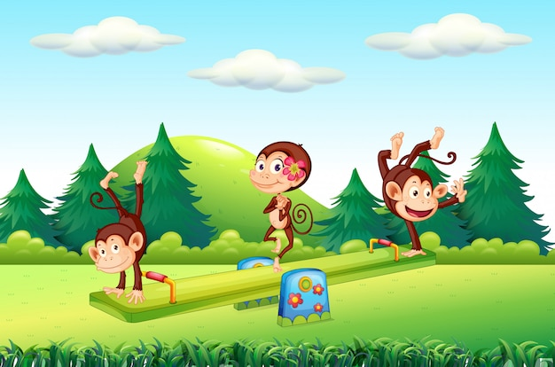 Monkey at the playground Free Vector