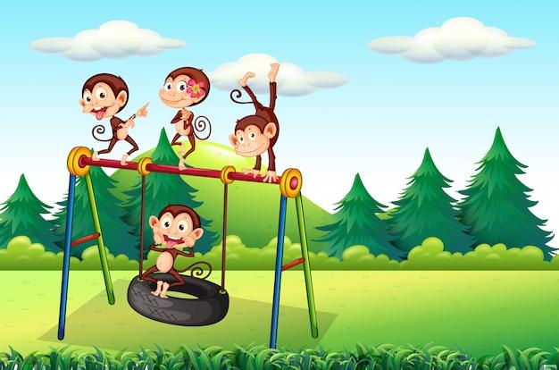 Monkey playing at playground Premium Vector