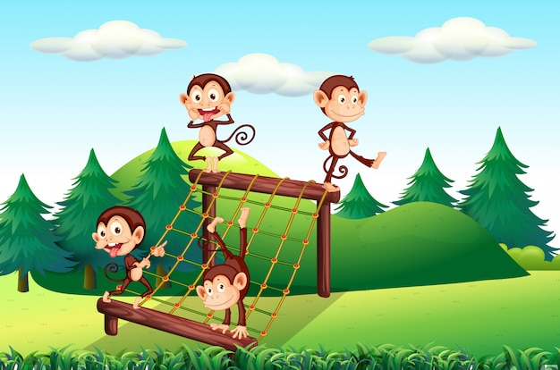 Monkey playing at playground Free Vector