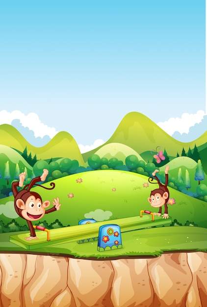 Monkey playing seesaw in nature Premium Vector