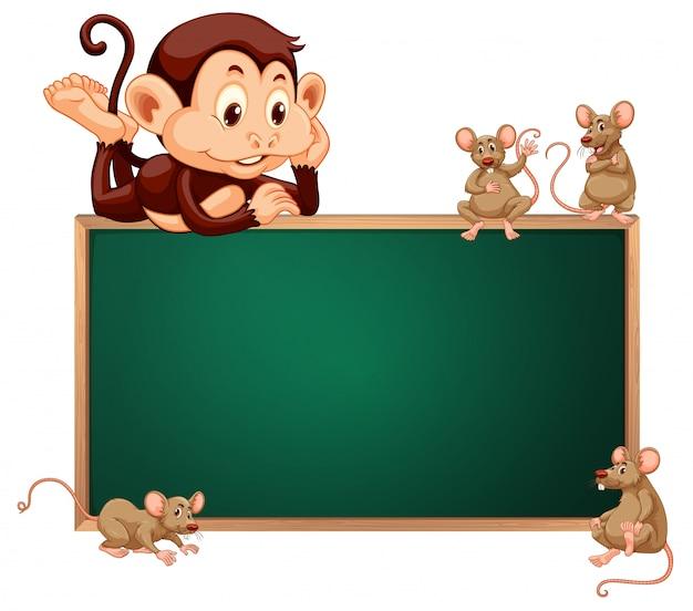 Monkey and rat blackboard banner Premium Vector