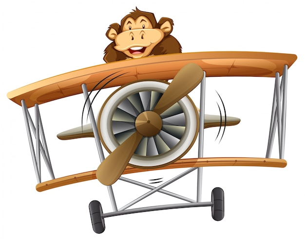 A monkey riding classic airplane Premium Vector