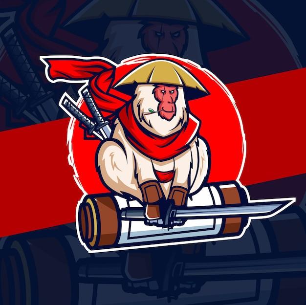 Monkey samurai ninja mascot esport logo design Premium Vector