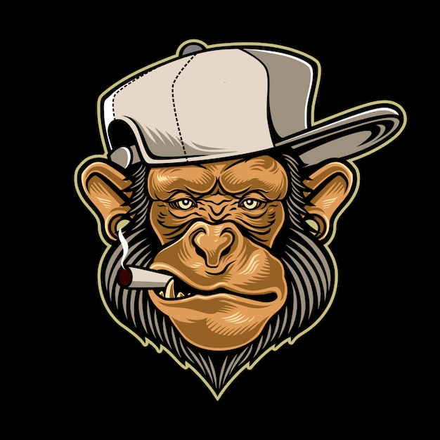 Monkey smoking a cigarette Premium Vector